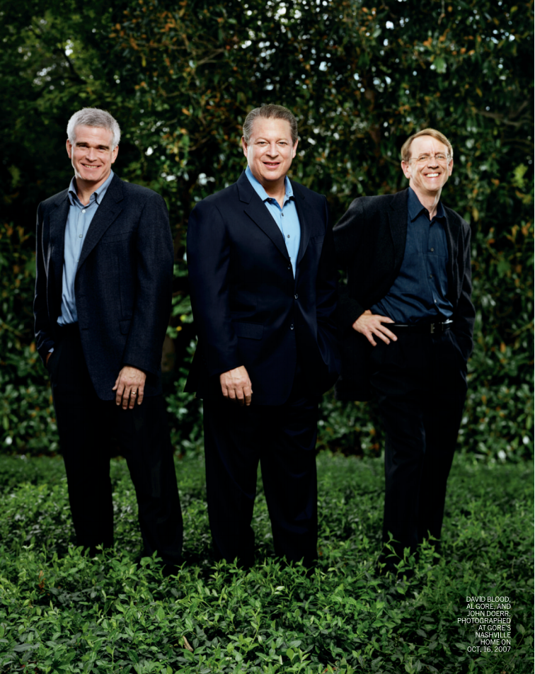 David Blood, Al Gore, and John Doerr, photographed at Gore's Nashville home on Oct. 16, 2007.