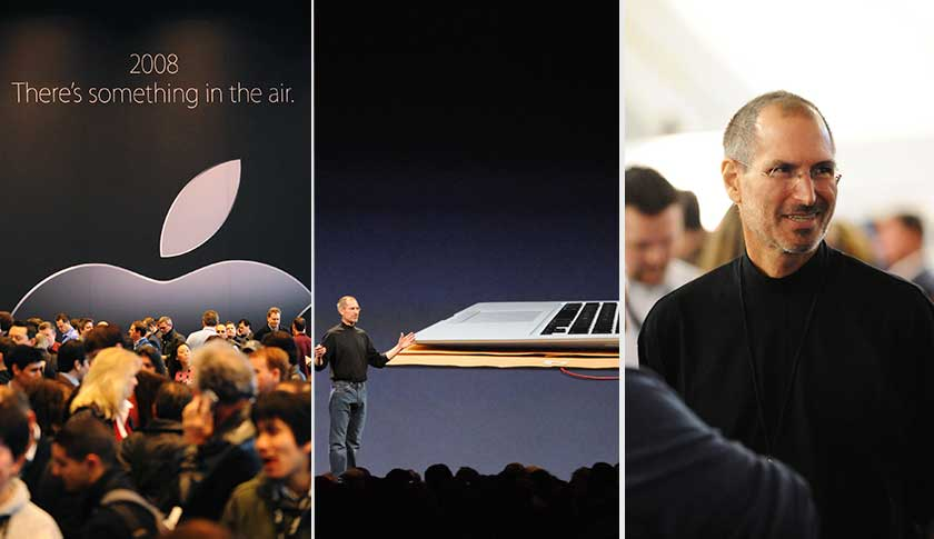 At this year's MacWorld Expo, Jobs' keynote speech drew the usual packed house (left). Jobs introduced the Macbook Air and then mingled with the faithful.