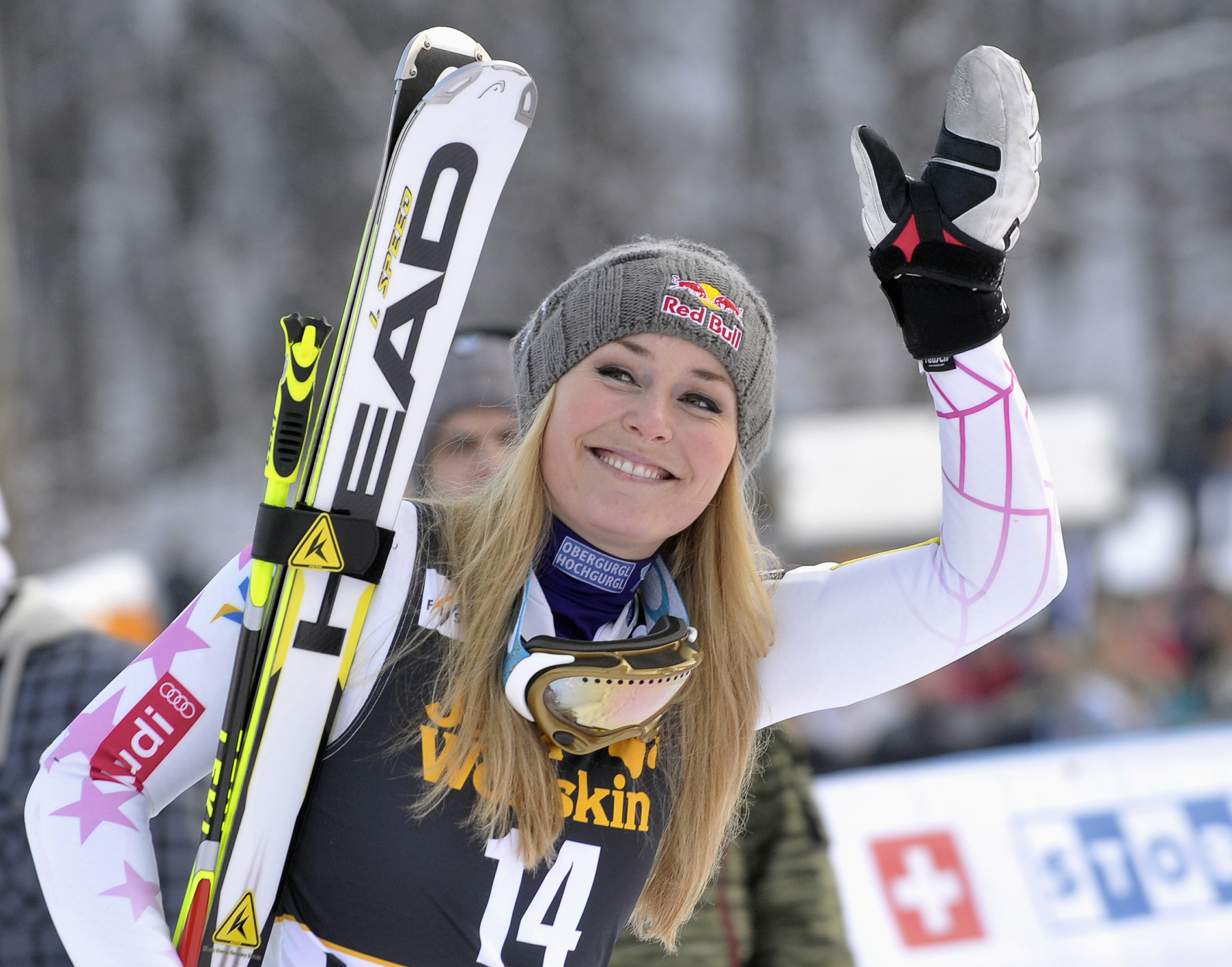 Vonn of the U.S. reacts after winning  the World Cup Women's Giant Slalom race in Maribor