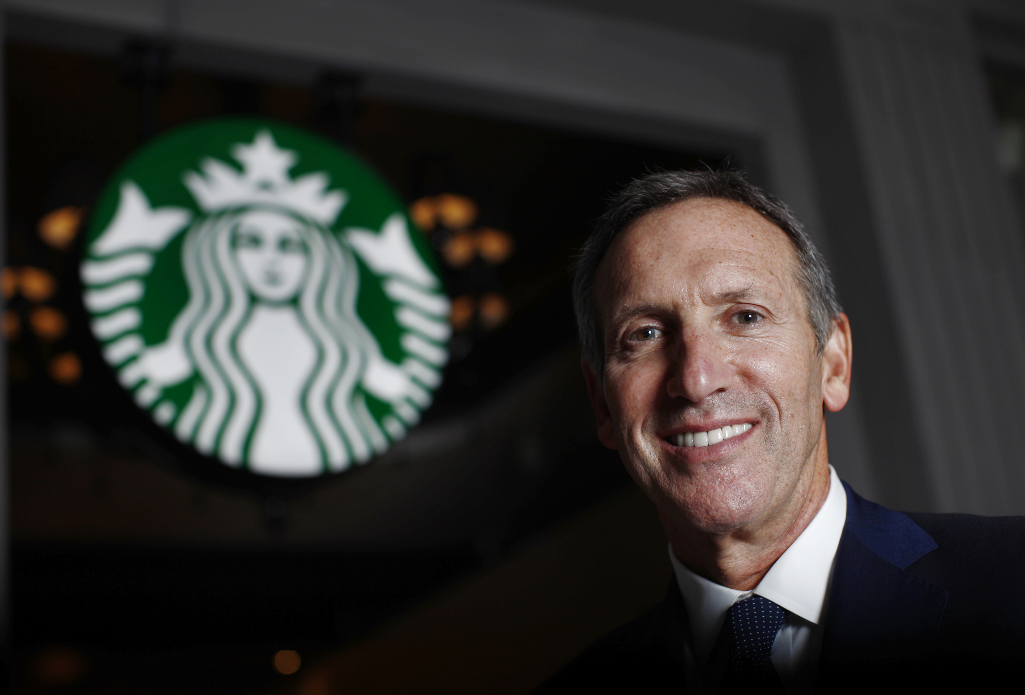Howard Schultz CEO of Starbucks poses during an interview with Reuters in Shanghai