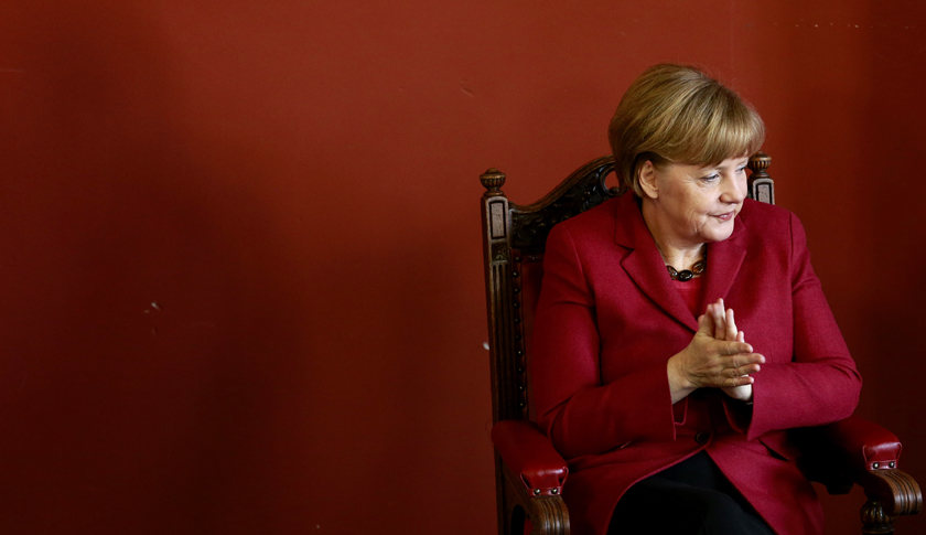 Merkel is pictured in Trinity college before she addressed students in the Dublin University