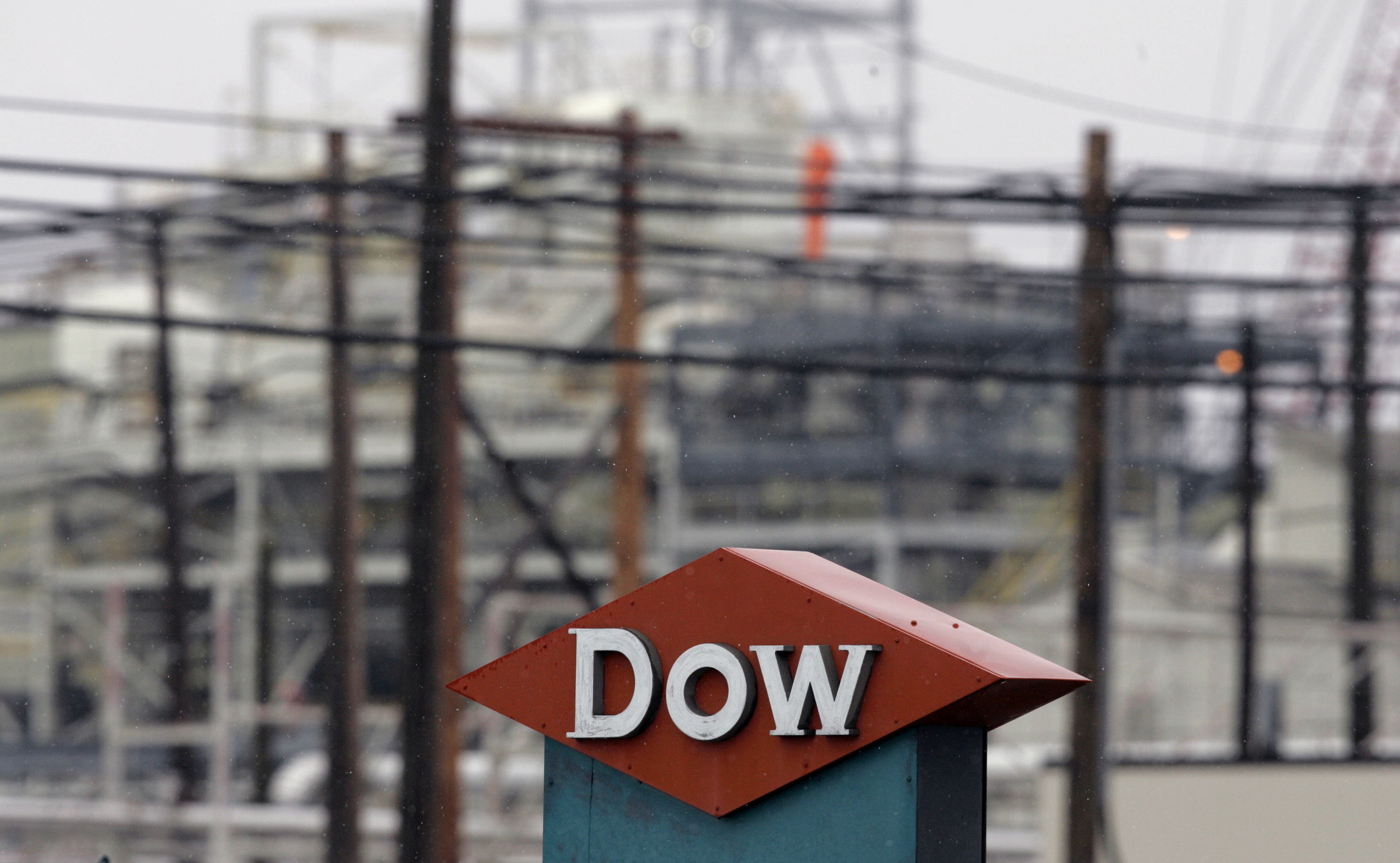 Light snow falls on the Dow Chemical Co. Michigan Operations