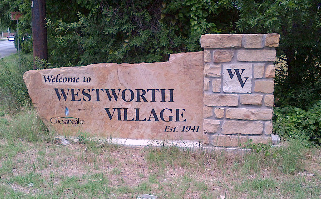 Chesapeake Energy celebrated a drilling deal by providing city limits signs to tiny Westworth Village, five miles from downtown Fort Worth.