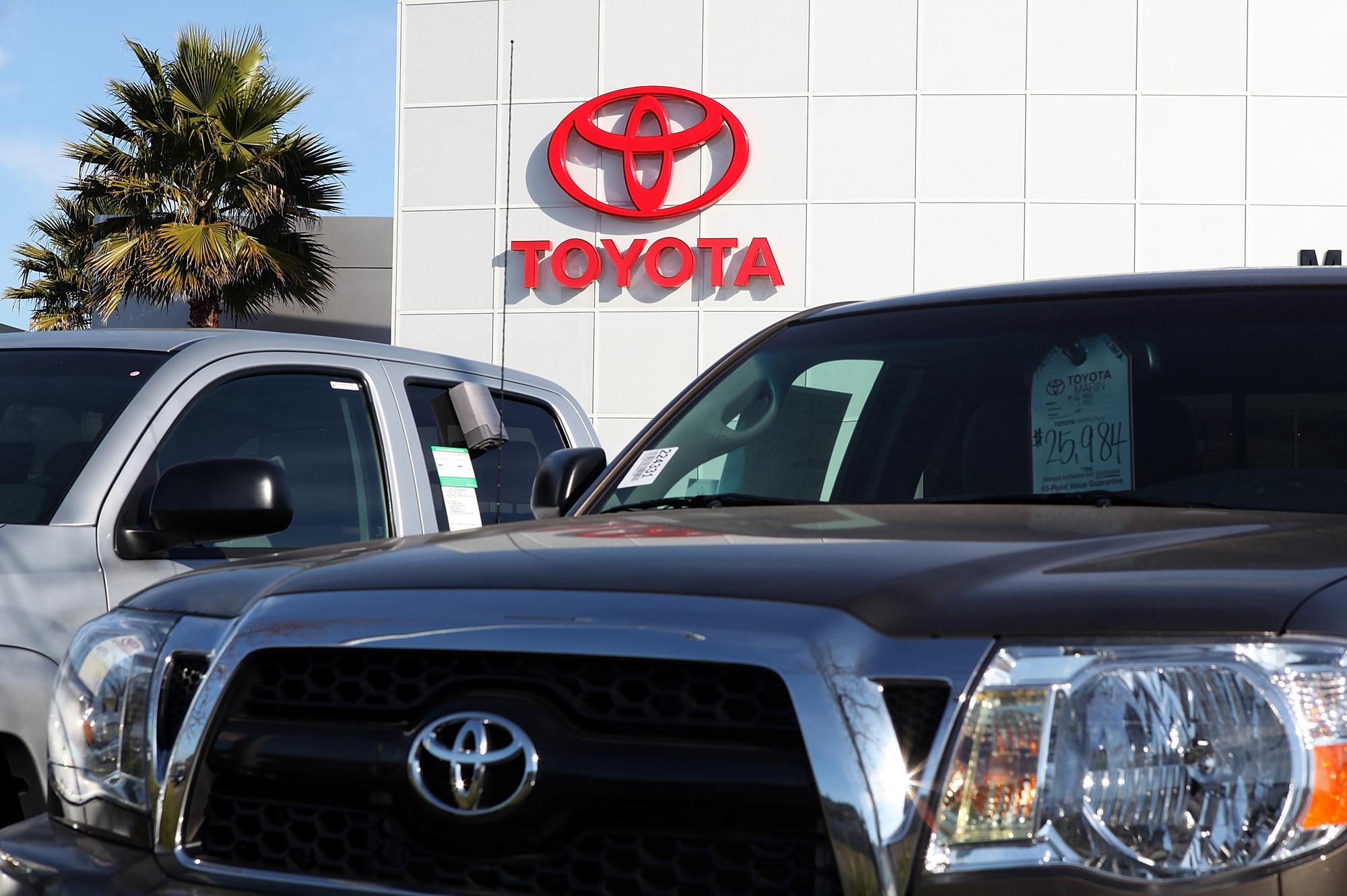 A Toyota sales lot.