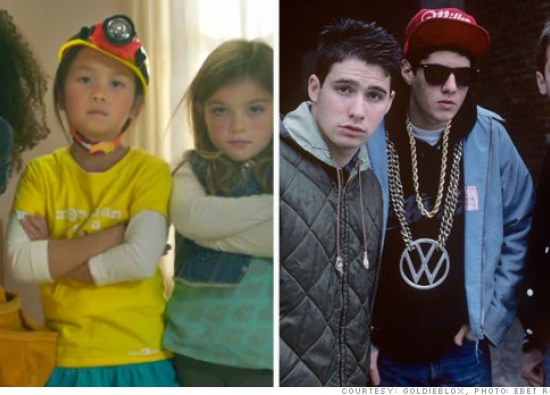 A still from the Goldieblox video, left; The Beastie Boys in 1987, right