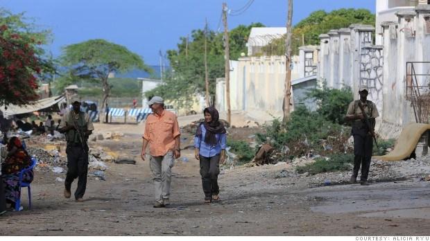 Alisha Ryu and David Snelson in Somalia.