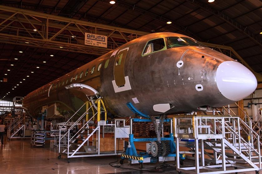 Embraer E-Jet under construction in Sao Jose dos Campos, Brazil