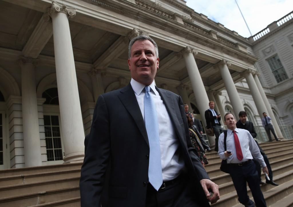 Mayor-Elect Bill De Blasio Meets With Mayor Bloomberg At City Hall