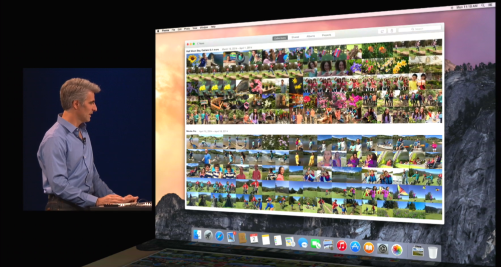 Apple's Craig Federighi demonstrating iCloud Photo Library at WWDC.