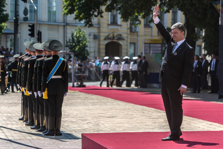 Chocolate tycoon Petro Poroshenko at his inauguration Saturday