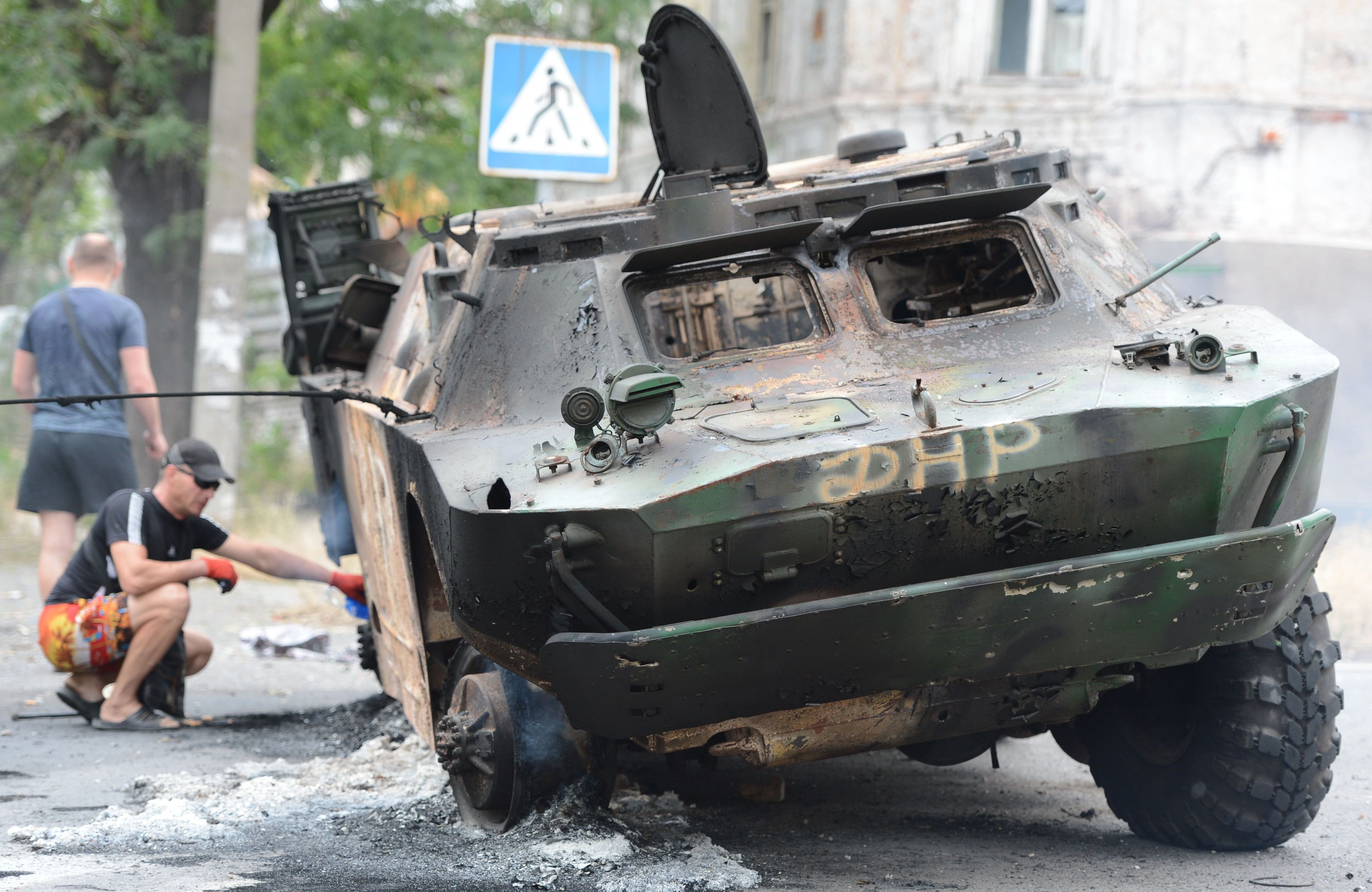 An armored vehicle belonging to pro-Russian separatists, destroyed in Friday's battle for control of the port city of Mariupol.