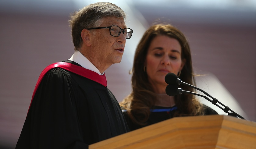 Microsoft founder and chairman Bill Gates delivers the commencement speech at Stanford