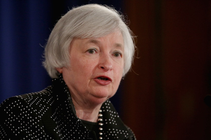 Federal Reserve Chairwoman Janet Yellen speaks during a news conference at Fed headquarters