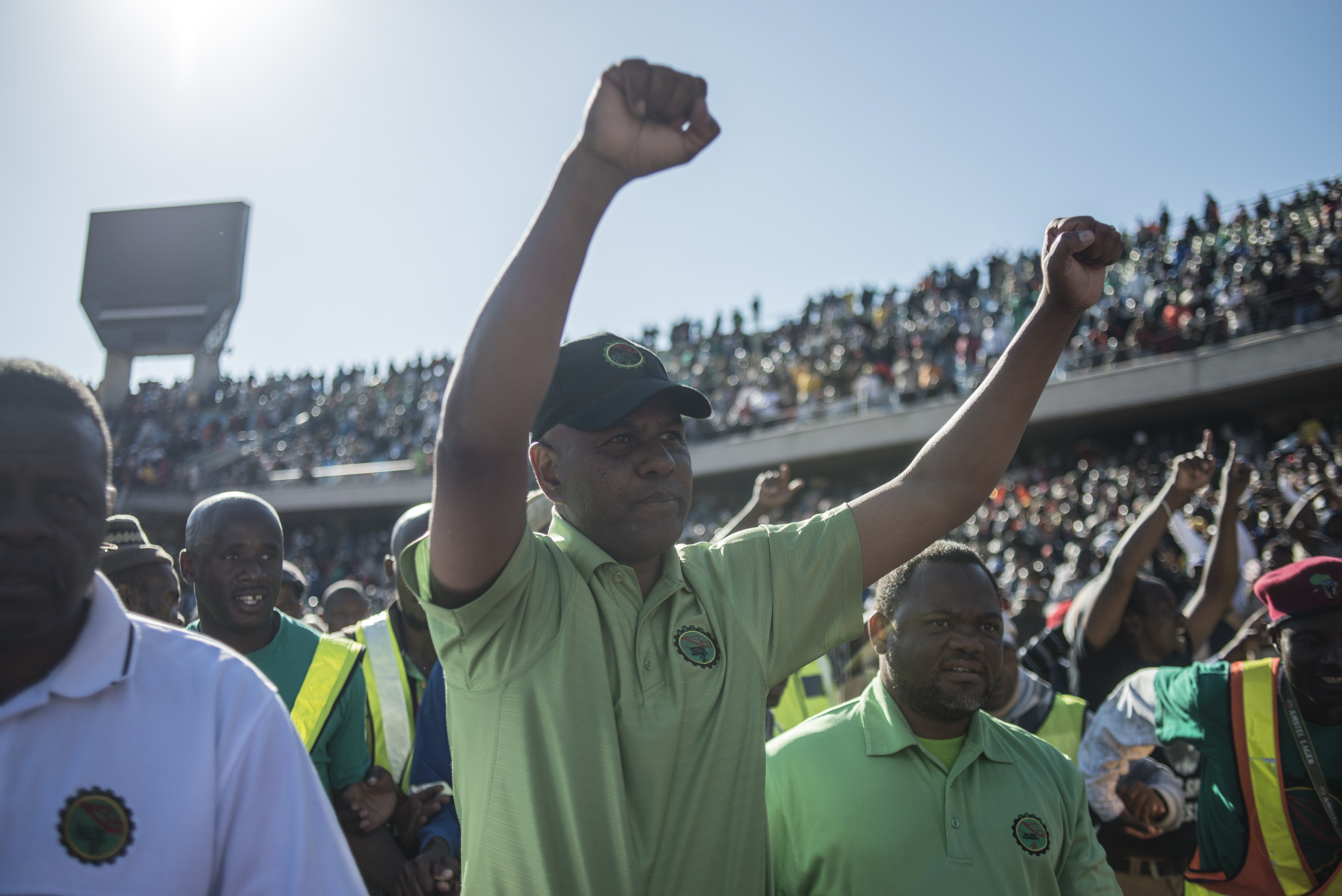 Joseph Mathunjwa, Association of Mineworkers and Construction Union (AMCU) leader announces the end of the strike to jubilant workers.