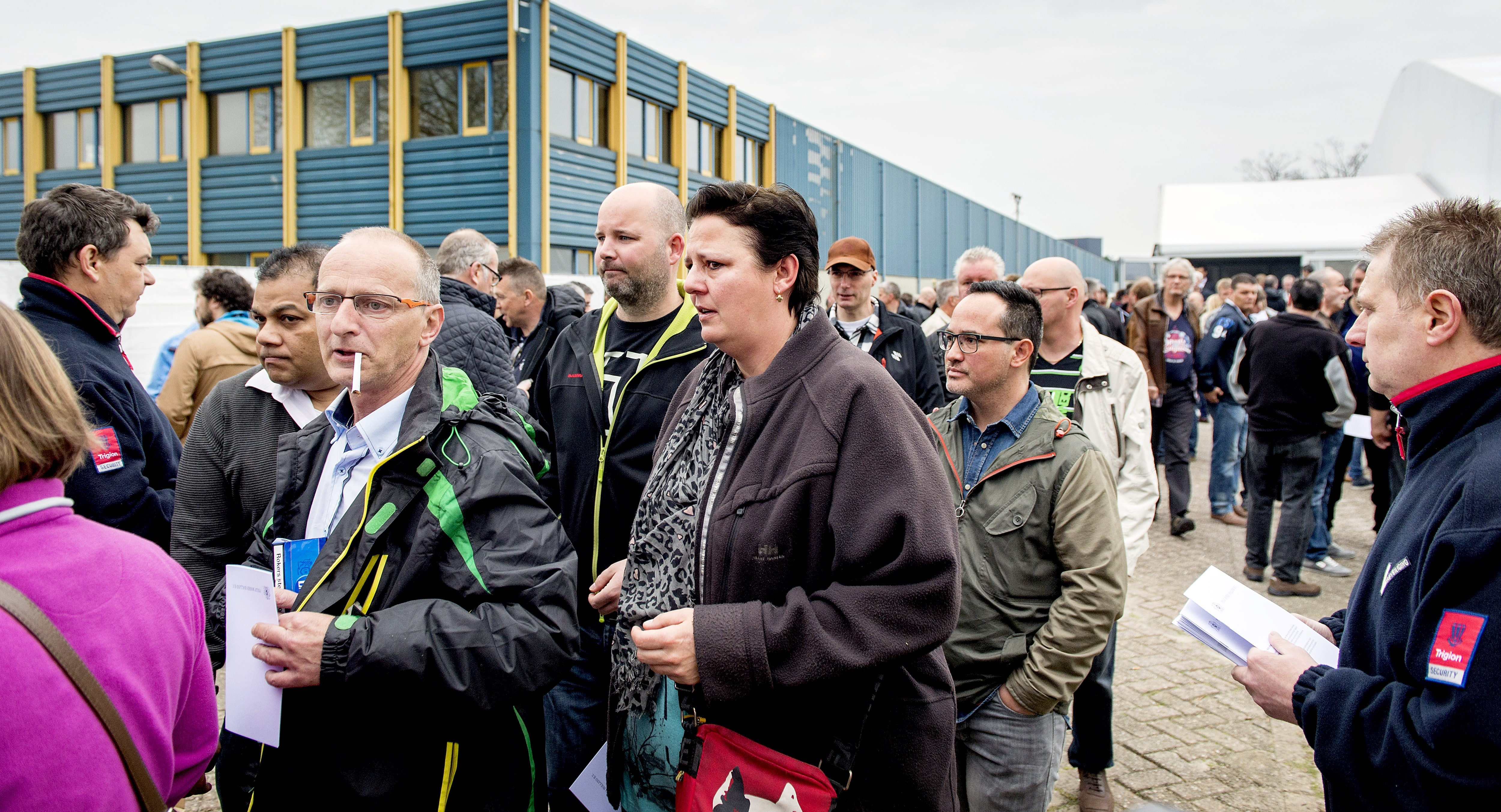 """A """"complex and atypical year"""" - Philip Morris employees in Bergen op Zoom, the Netherlands, striking against plans to close their plant."""