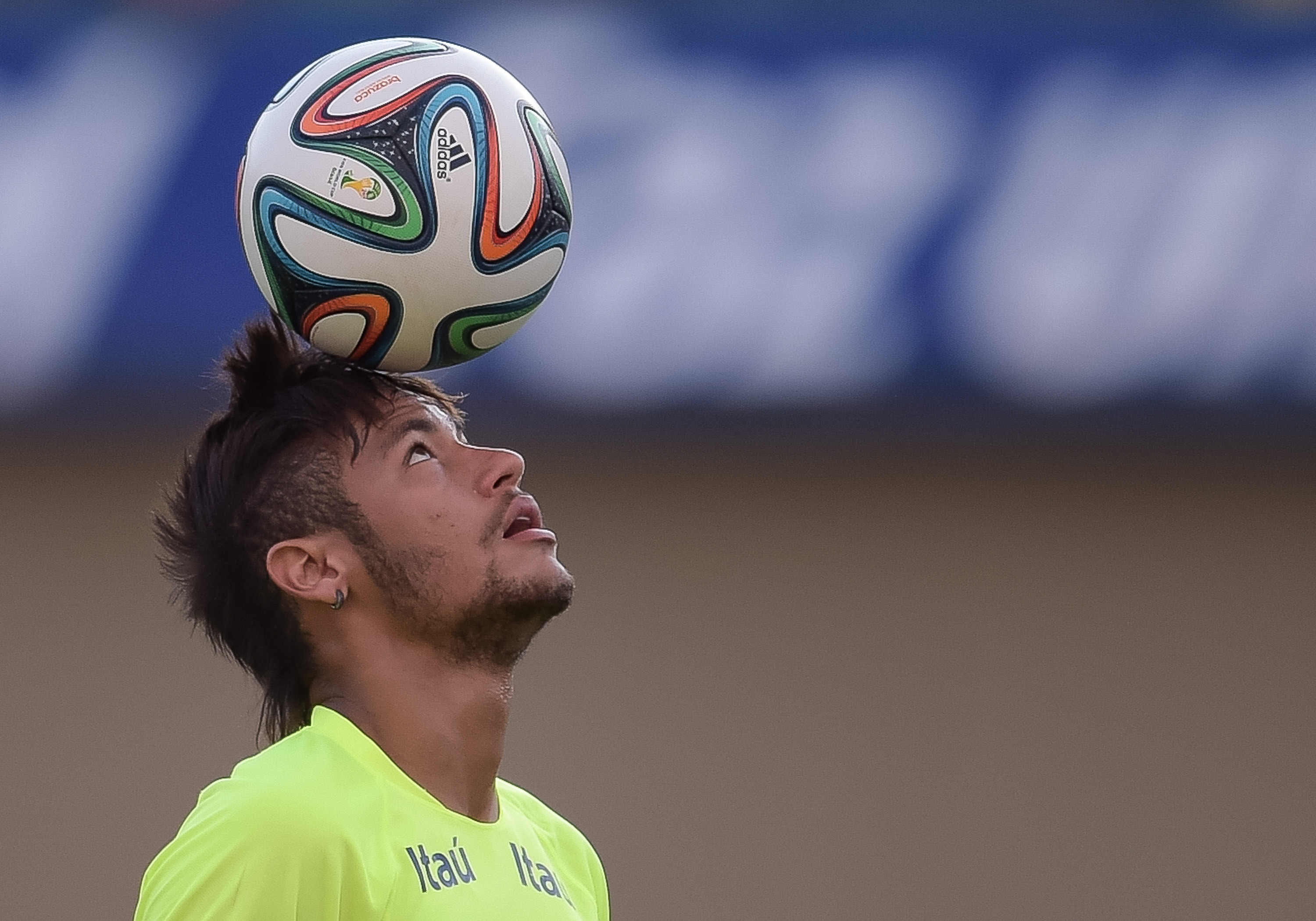 Neymar in action during a training session at the Serra Dourada Stadium in Goiania, Brazil