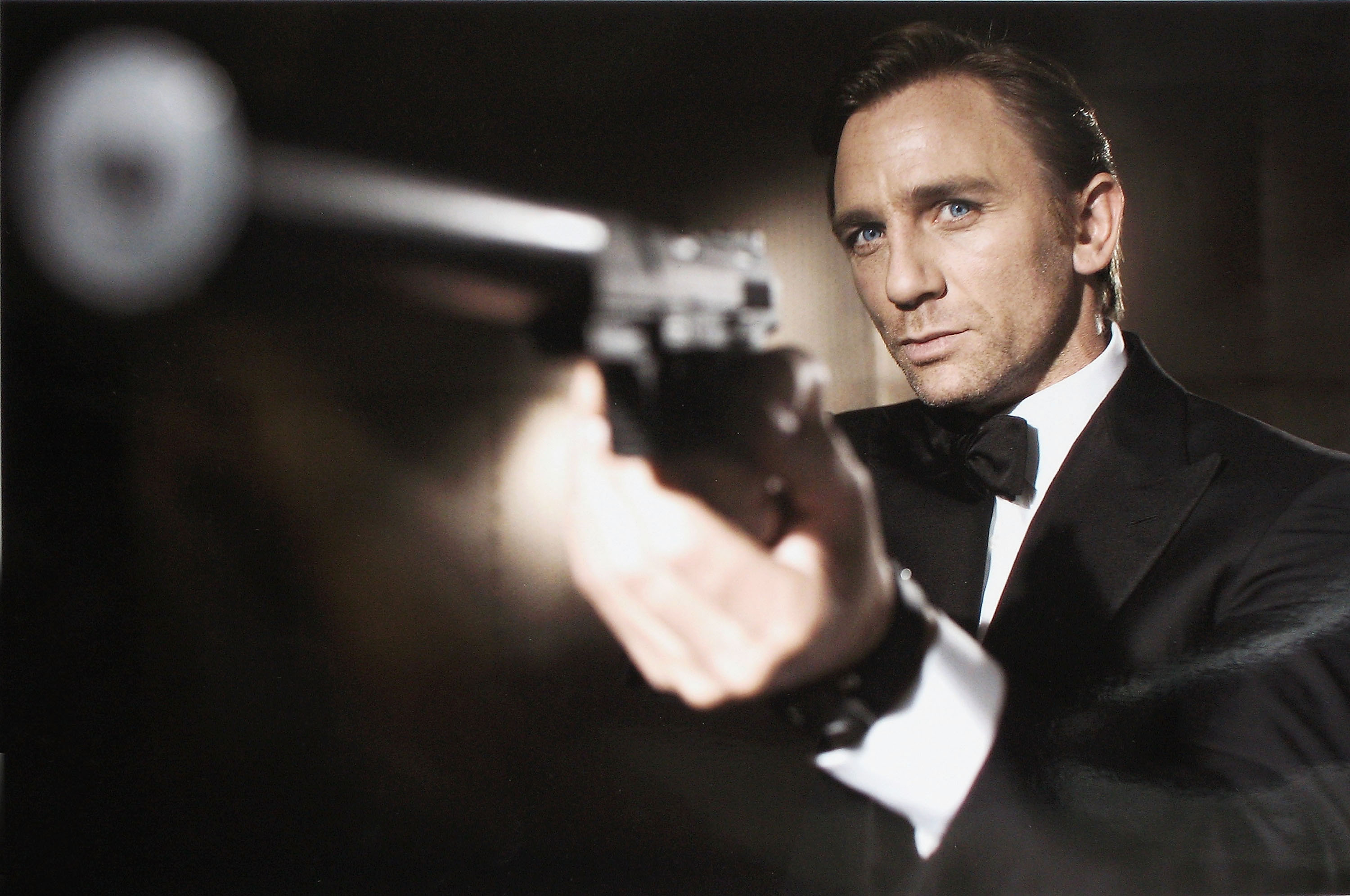 Actor Daniel Craig poses as James Bond.