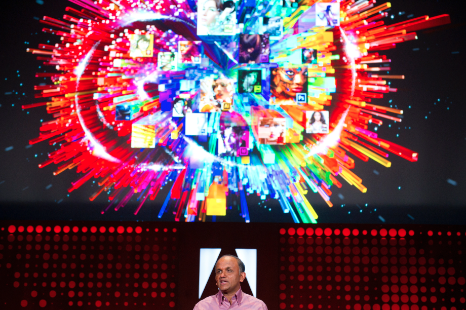 Adobe Systems CEO Shantanu Narayen during the launch of Adobe Creative Cloud and CS6 in San Francisco, California in April 2012.