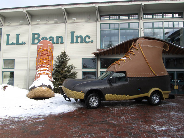 LL Bean flagship store in Maine with Bootmobile outside