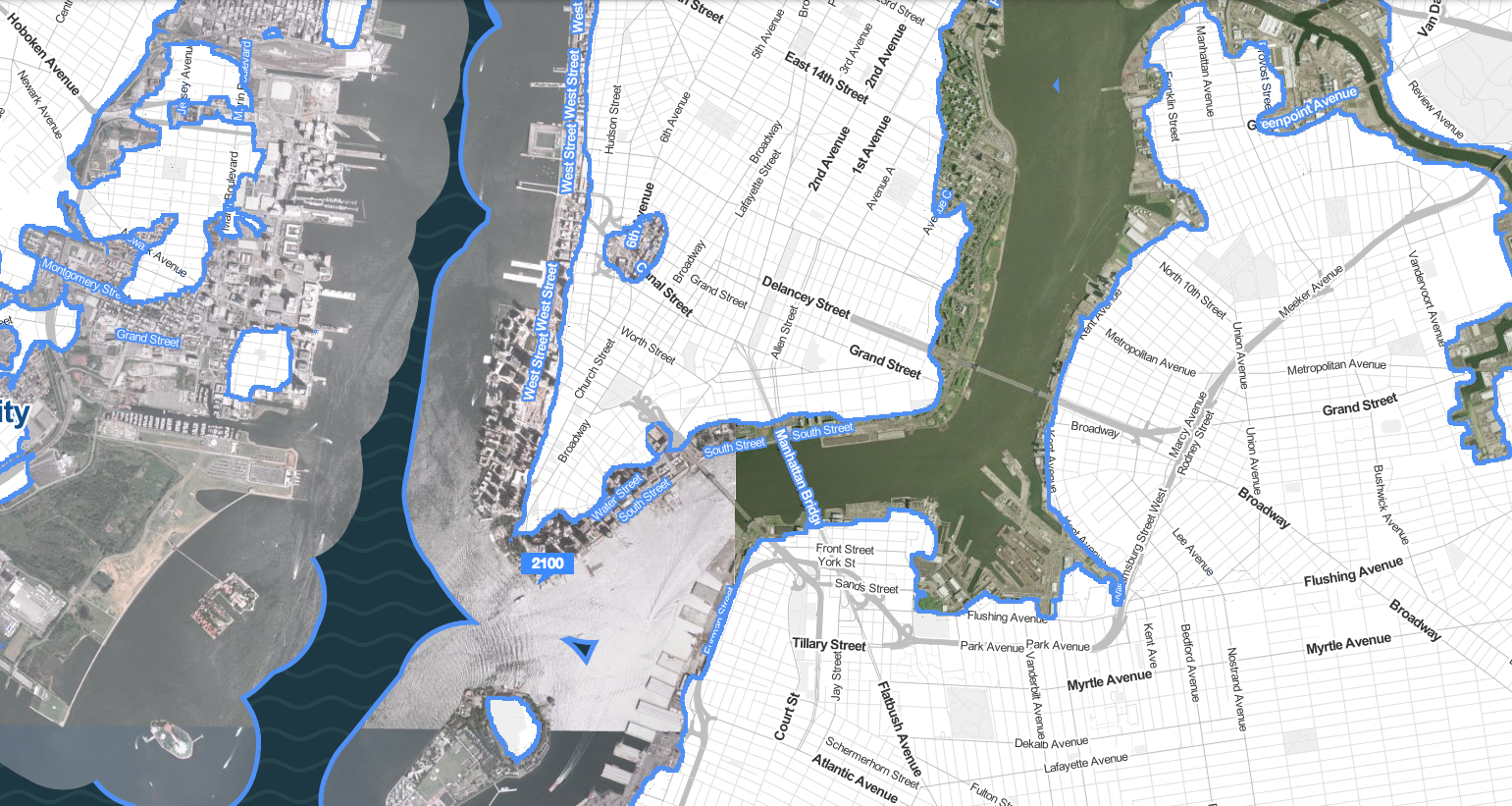 Climate Central's prediction for how lower Manhattan will look in the year 2100 due to rising sea levels.