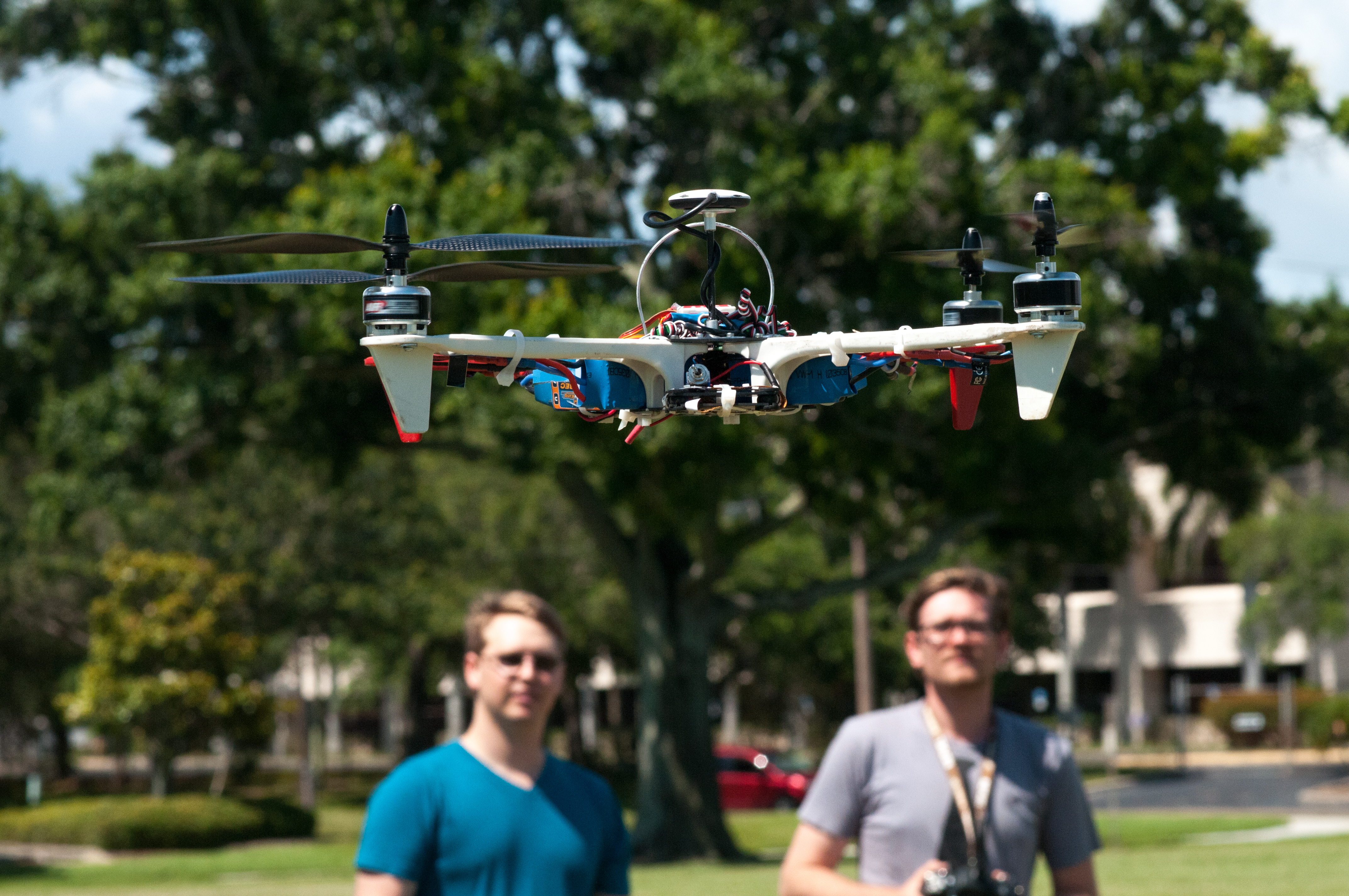 Greg LeCompte (left) and Kevin Lupex fly their drone in St. Petersburg, Fla.