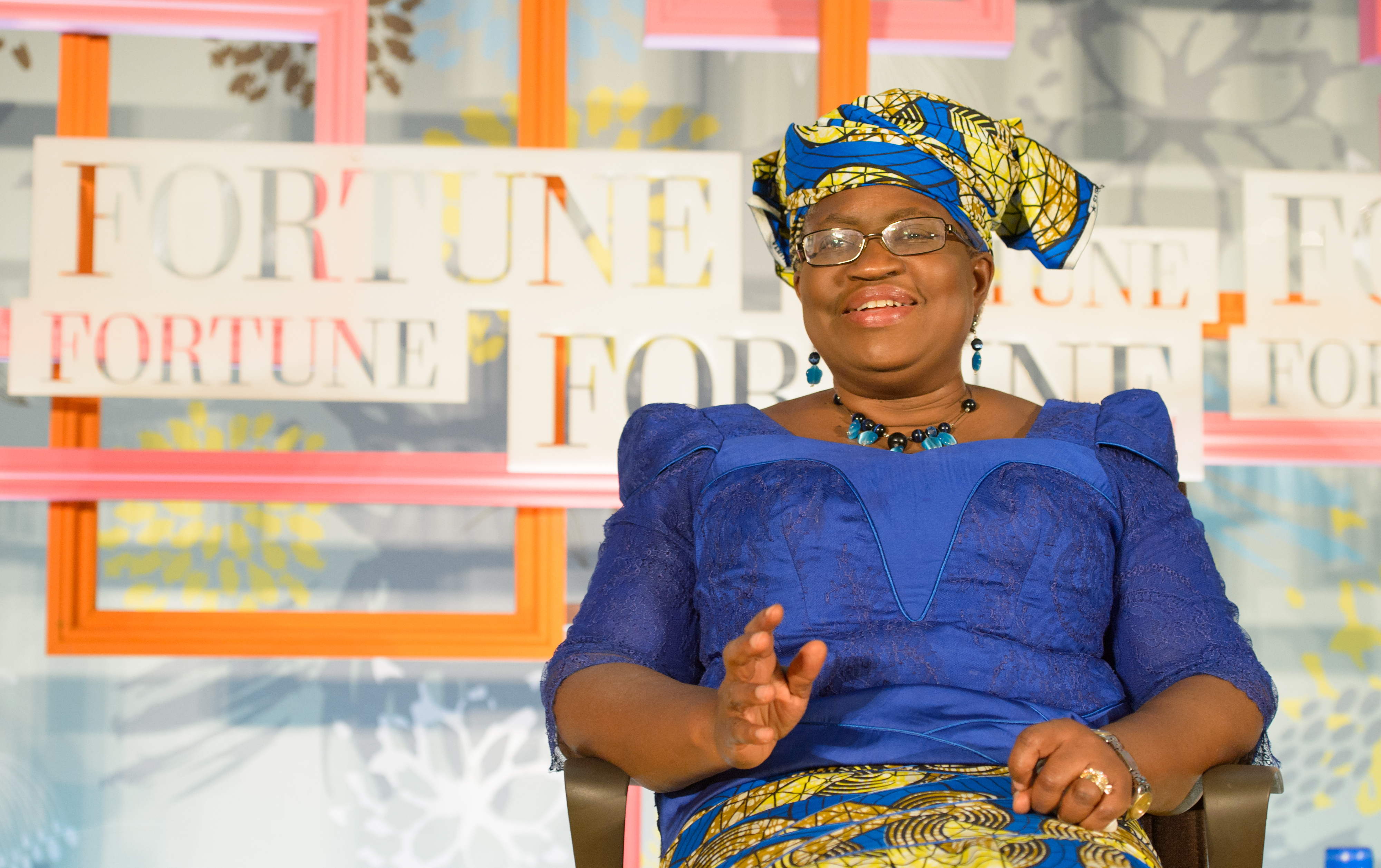 Ngozi Okonjo-Iweala speaking at the Fortune Most Powerful Women International event on Tuesday at London's Rosewood Hotel.