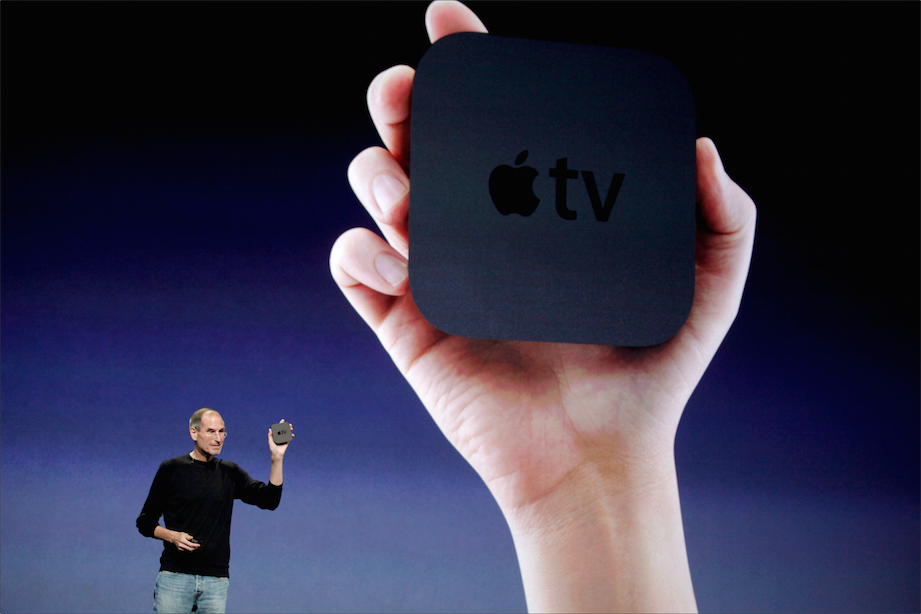 Steve Jobs, Apple's late chief executive, announcing a new version of Apple TV in September 2010.