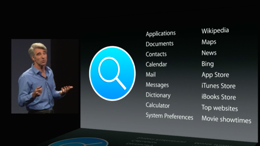 Craig Federighi demoing Apple's newly empowered search tool at WWDC