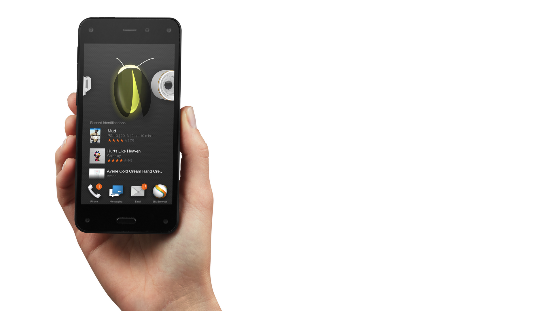 Amazon's new Fire phone, demonstrating the Firefly feature.