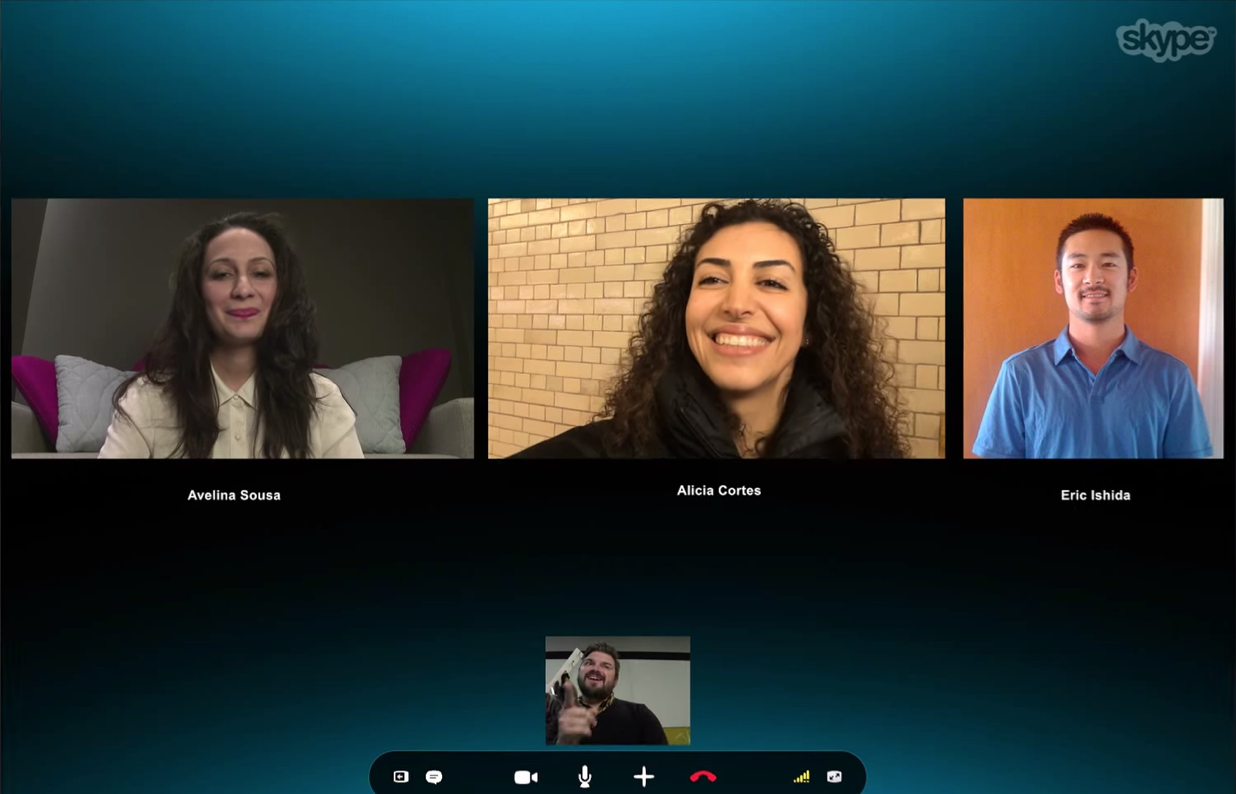 A four-way video call on Skype.