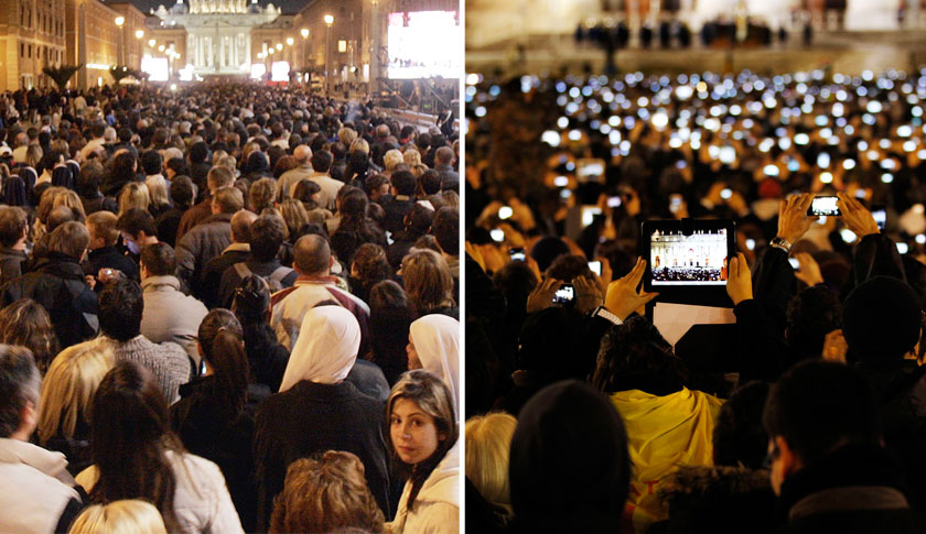 Vatican throngs in 2005 (left)—and in 2013, with a panoply of digital displays