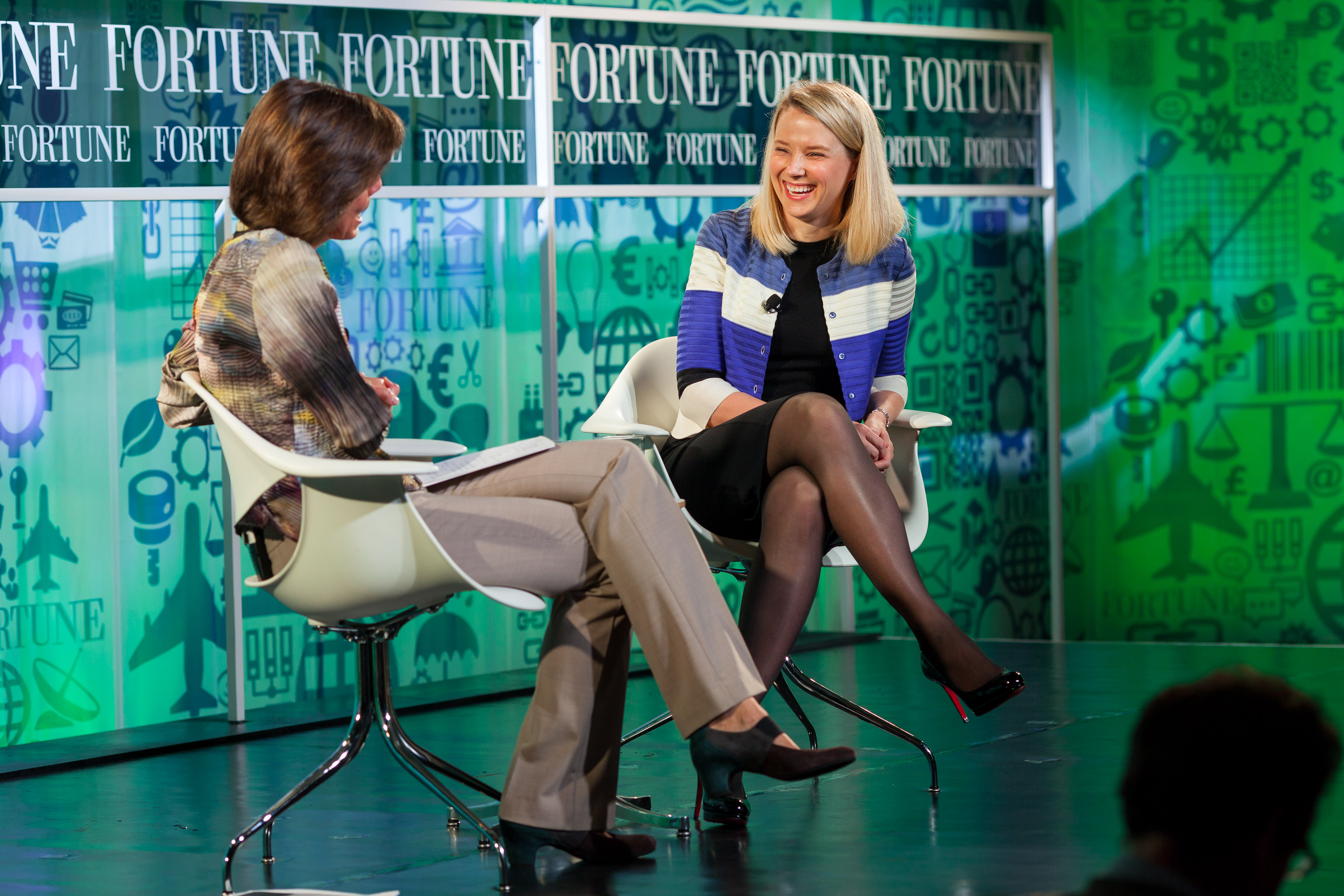 Yahoo President and CEO Marissa Mayer  gets interviewed by Fortune Editor Pattie Sellers at a Most Powerful Women event in 2013  Photograph by Danuta Otfinowski/Fortune Most Powerful Women