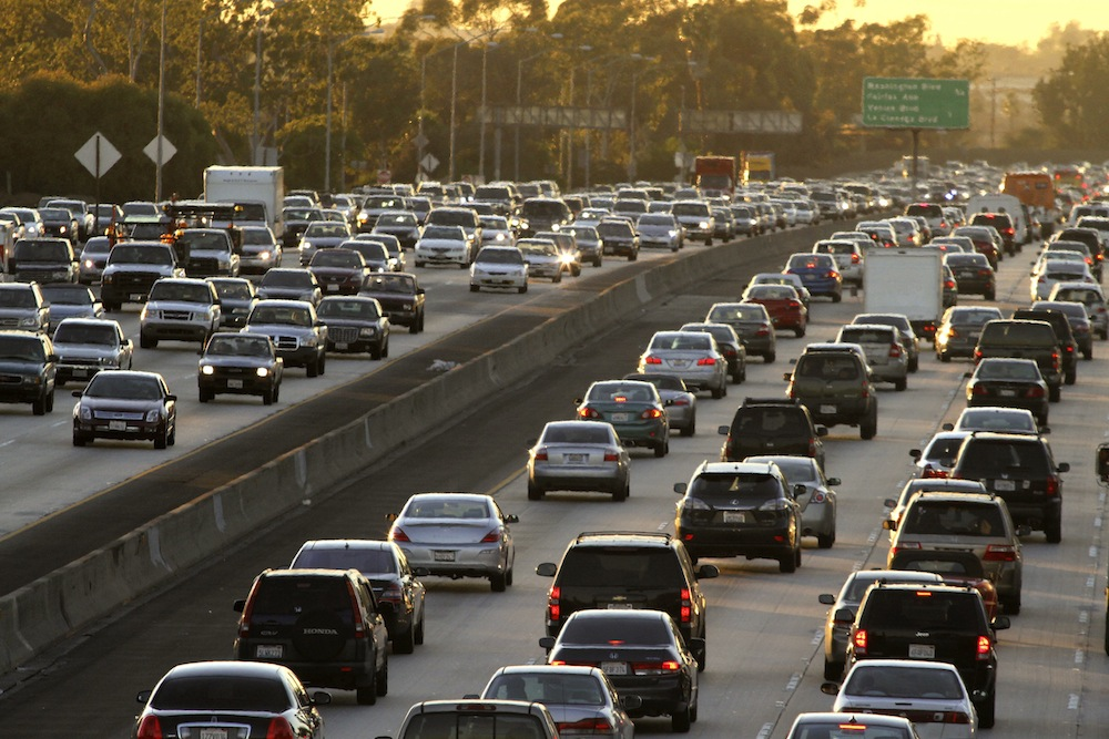 Heavy traffic at rush hour on the Interstate 10 Freeway in Los Angeles, California