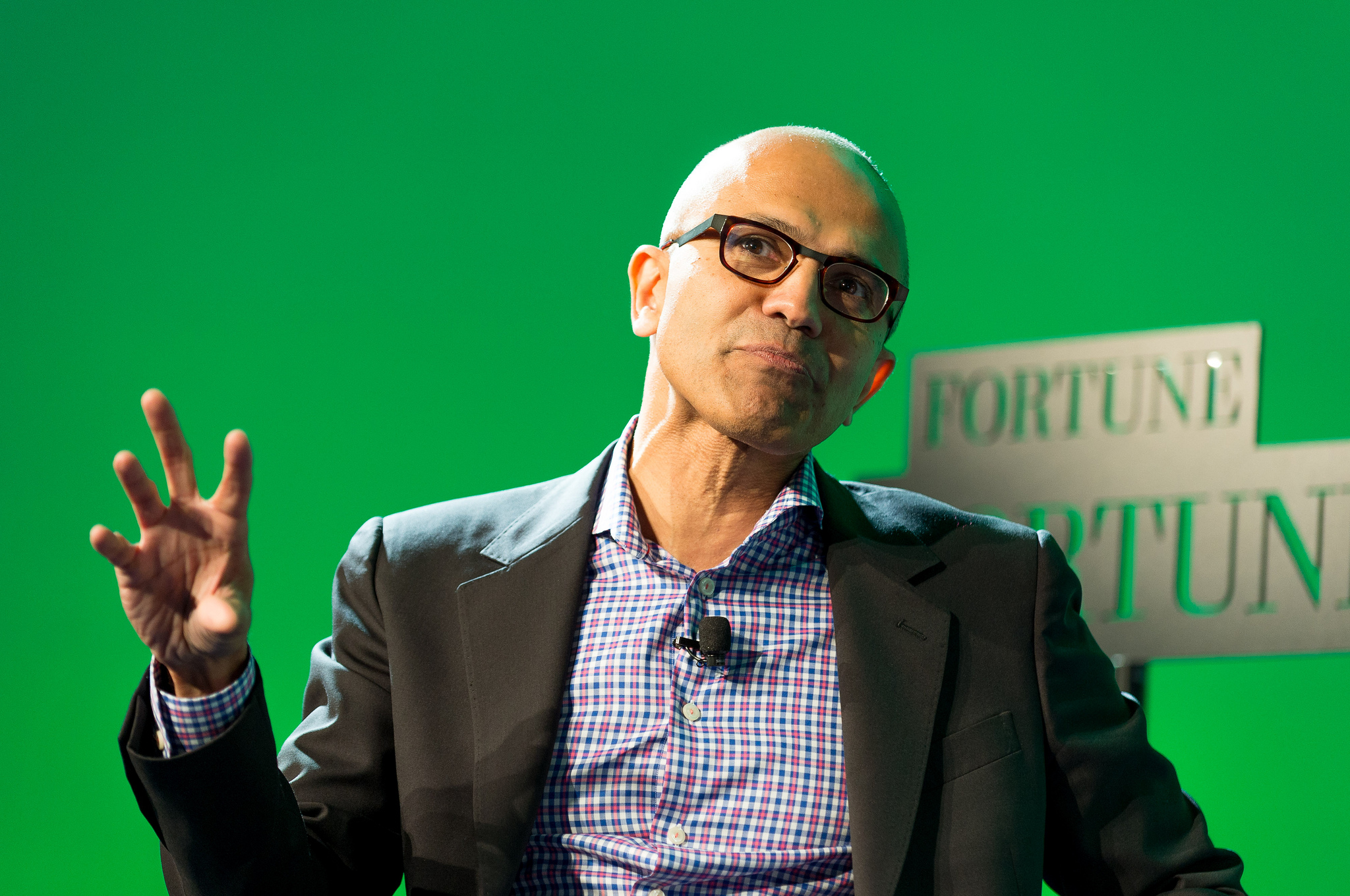 Microsoft CEO Satya Nadella speaking at the Fortune Brainstorm Tech conference in Aspen, Colorado on July 14, 2014.