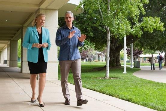 CEOs: IBM's Ginni Rometty and Apple's Tim Cook. Photo: Paul Sakuma/Apple