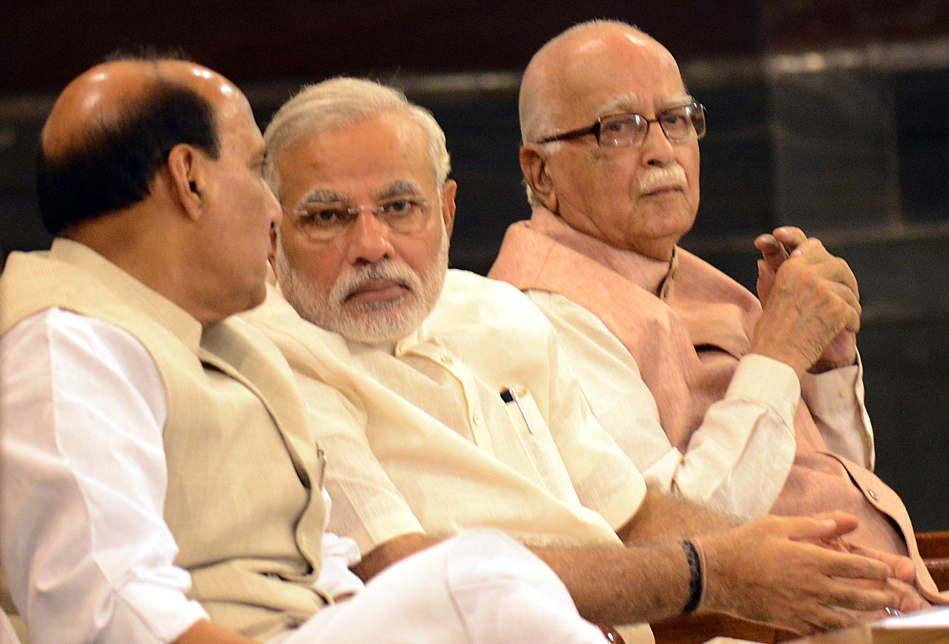 Indian Prime Minister Narendra Modi (center)