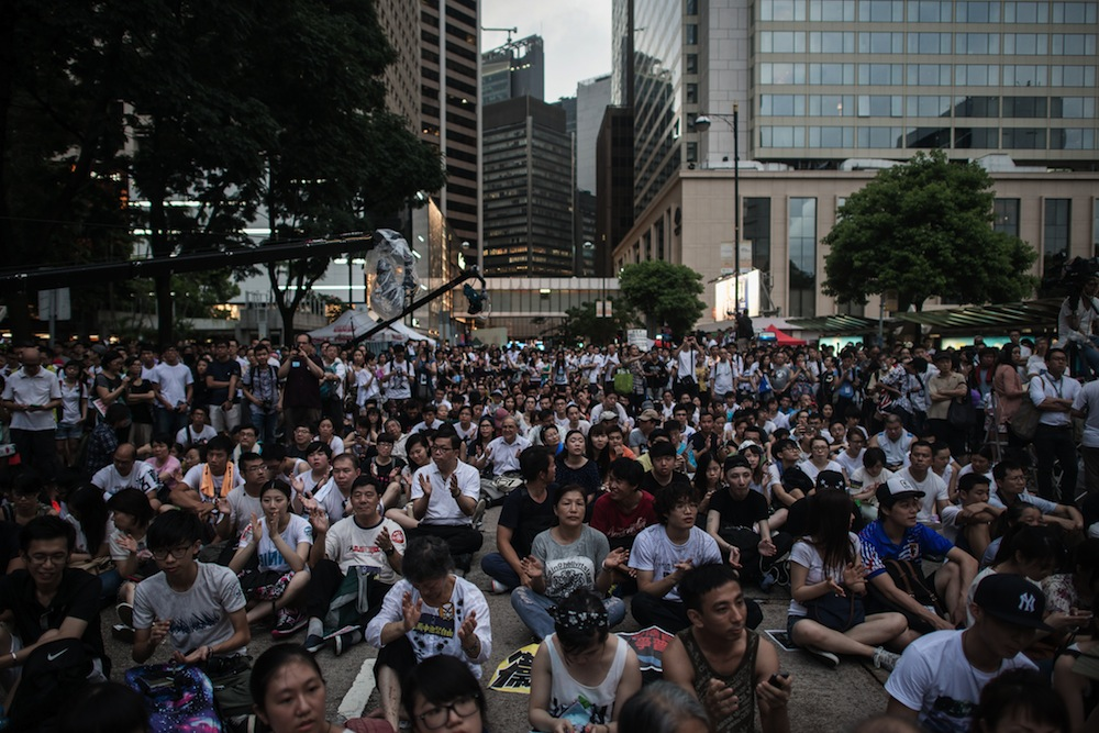 Demonstrators during a pro-democracy rally in Hong Kong on July 1, 2014