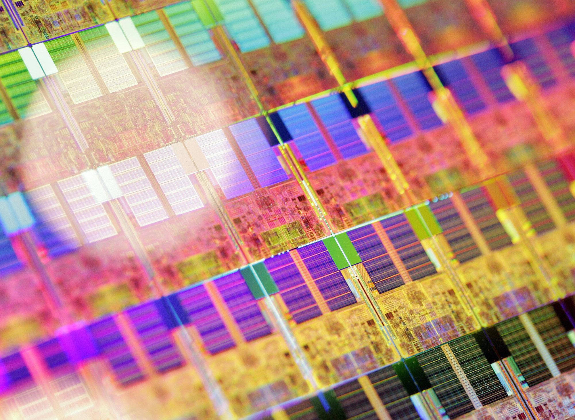 A 45nm process 300mm silicon wafer is di