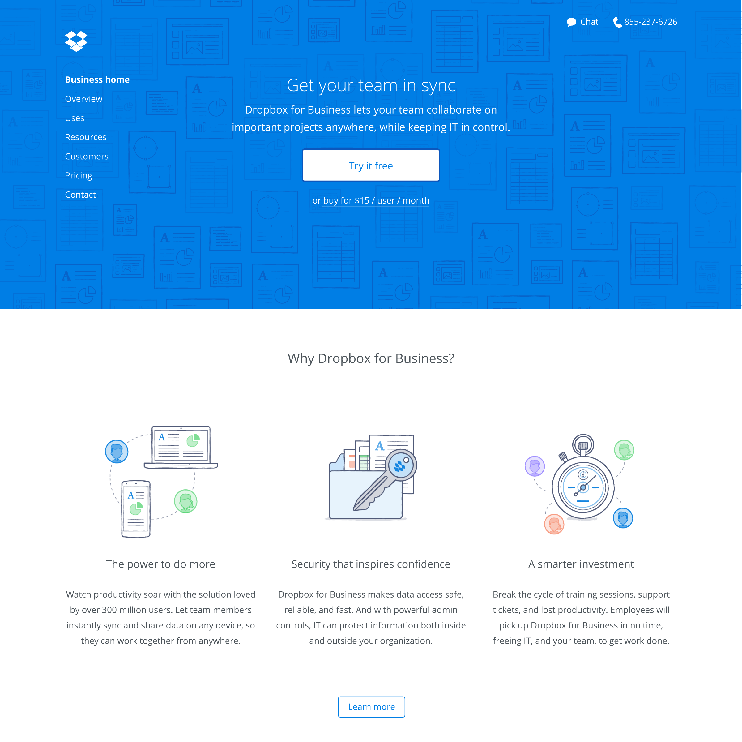 The July 2014 redesign of Dropbox's website is intended to appeal to enterprise customers.