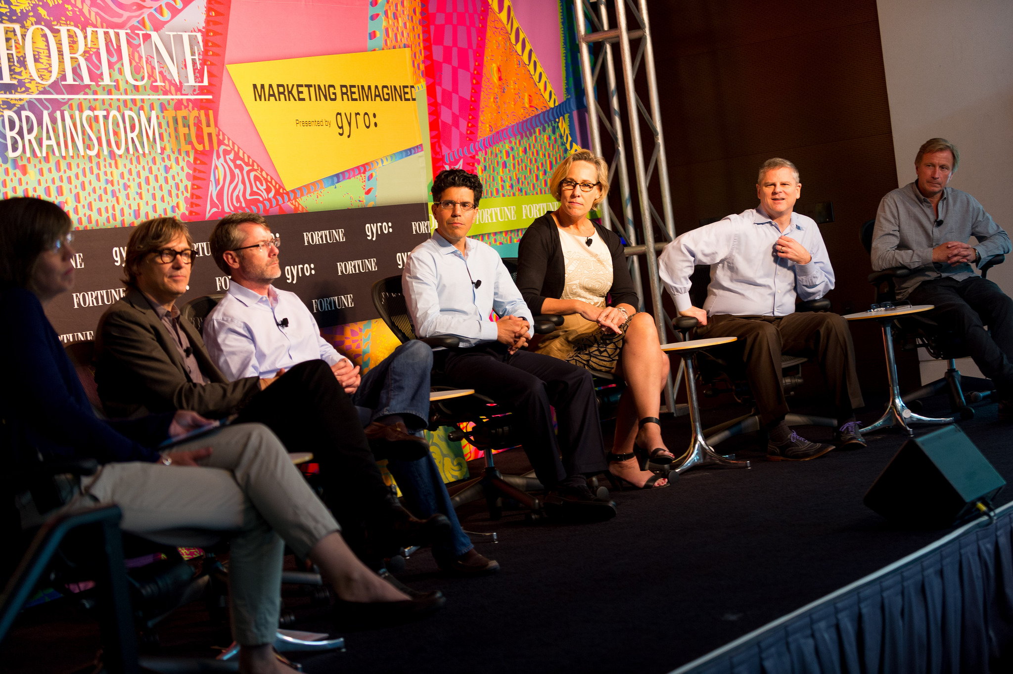 Left to right: Pattie Sellers, senior editor at large, Fortune; Christoph Becker, CEO, gyro; Bob Borchers, CMO, Dolby Laboratories; Gil Elbaz, CEO, Factual; Deanie Elsner, CMO, Kraft Foods; Phil Fernandez, CEO, Marketo; Marc Mathieu, SVP of Marketing, Unilever.