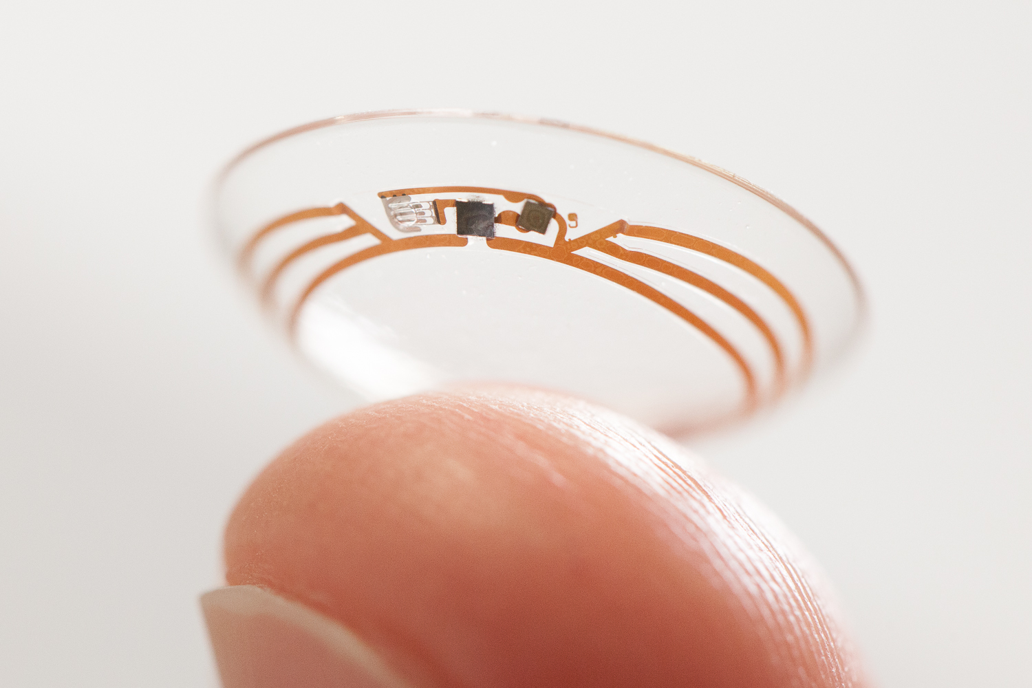 "A prototype of the ""Smart Lens"" technology that Novartis and Google have teamed up to bring to market."