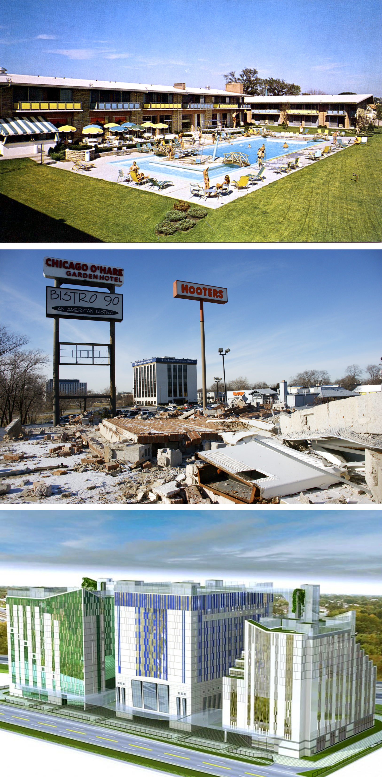 From HoJo to hobo?  The Howard Johnson Motor Lodge near O'Hare Airport (top, in the 1960s) became the Sethis' motel (center, after demolition began in late 2012). Bottom, renderings of the hotel/convention center planned for the site. Today the space is a weed-filled empty lot.