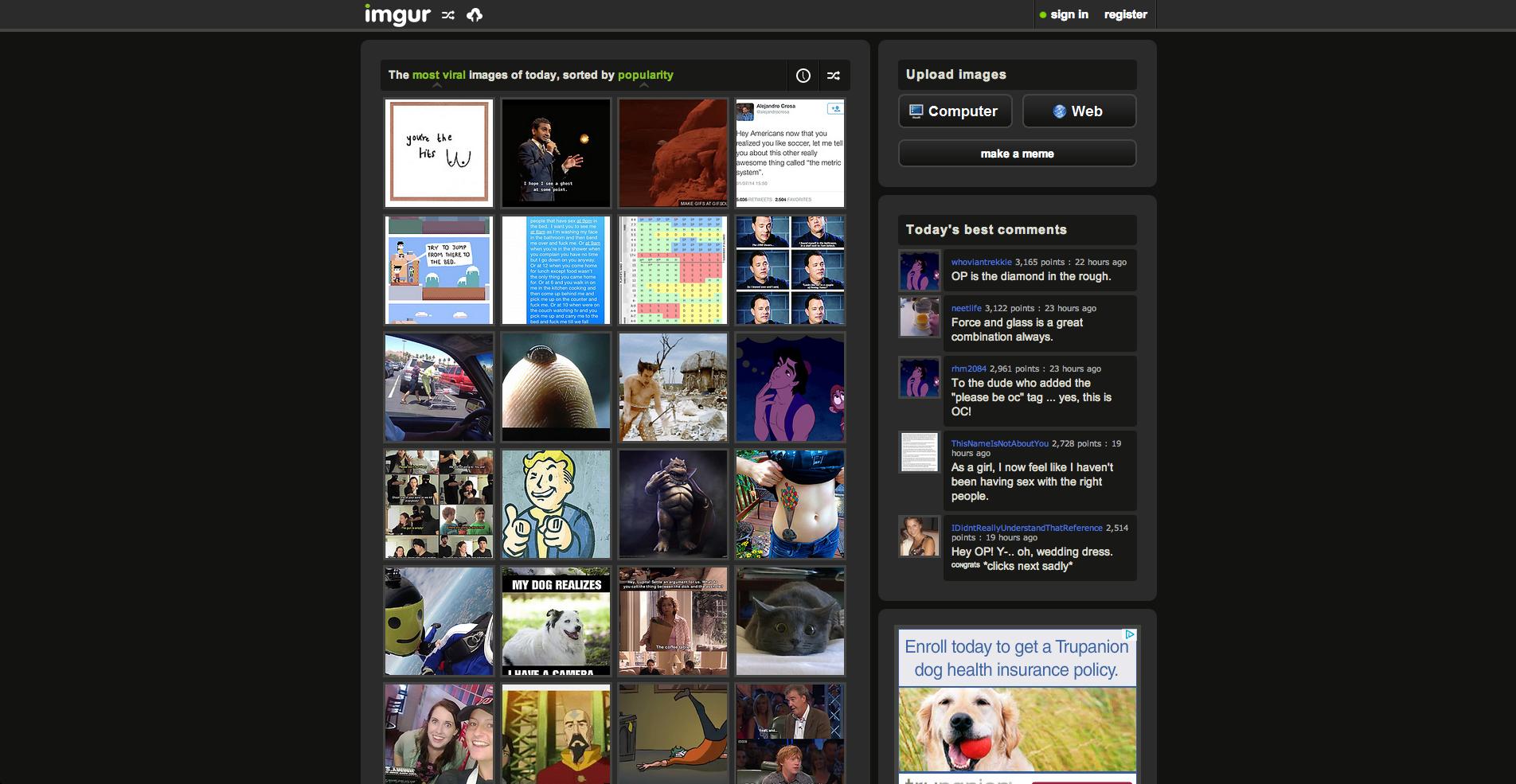 The Imgur homepage.