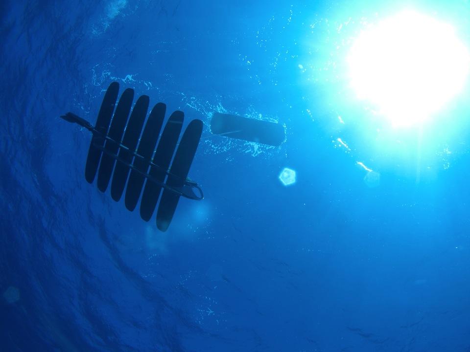 Liquid Robotics' Wave Glider robot, pictured from below.