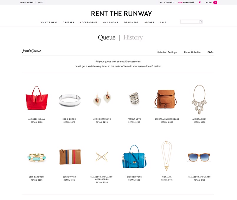 Rent The Runway Unlimited is a monthly subscription service to rent everyday clothing items.