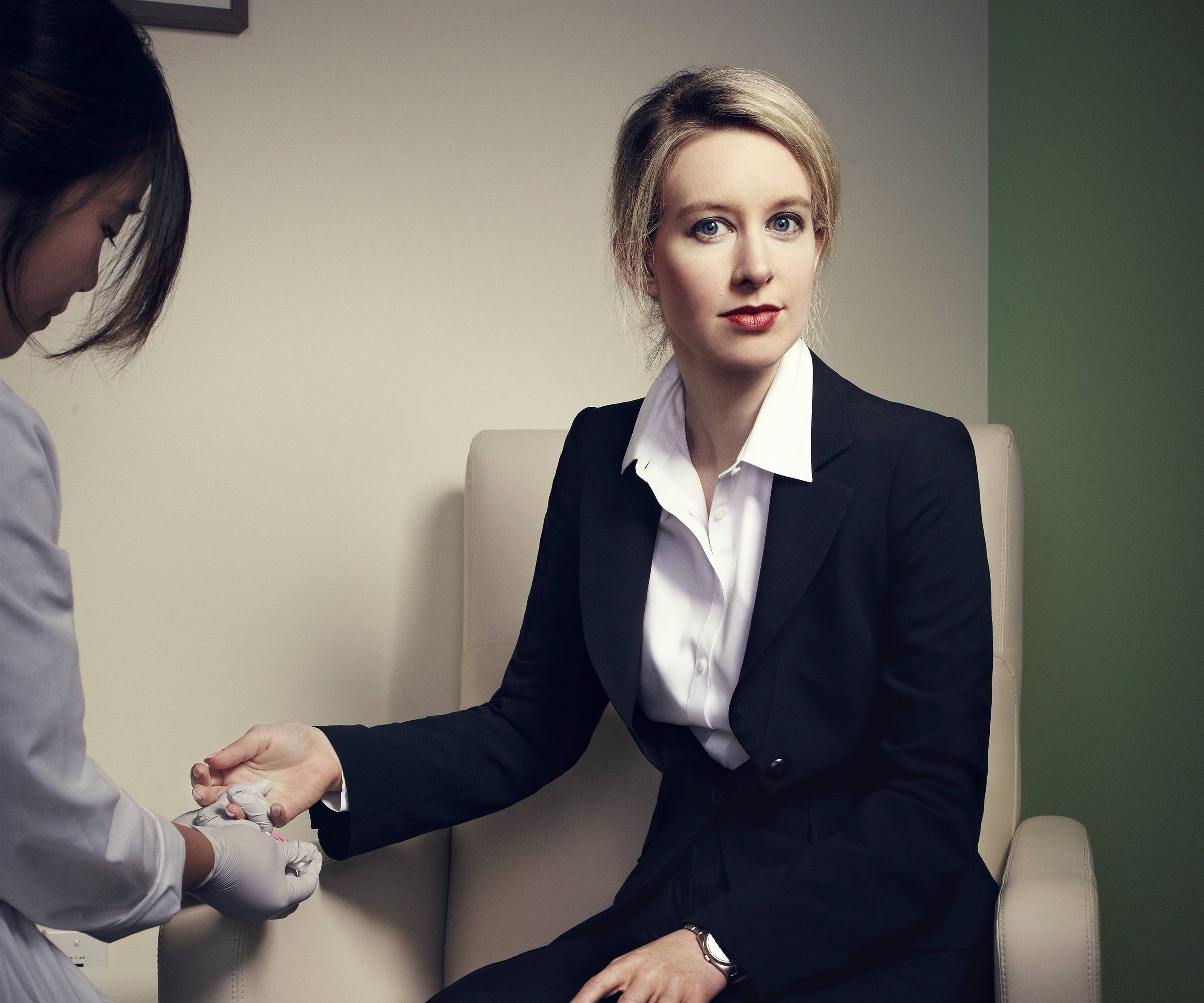 Founder and CEO Elizabeth Holmes undergoing the blood test she invented at Theranos's headquarters in Palo Alto.