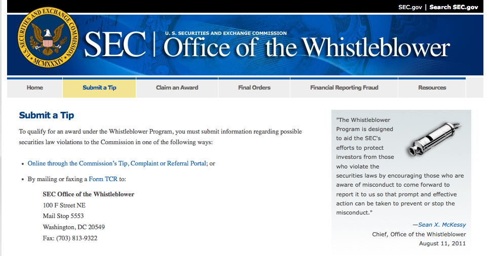 The SEC's whistleblower website