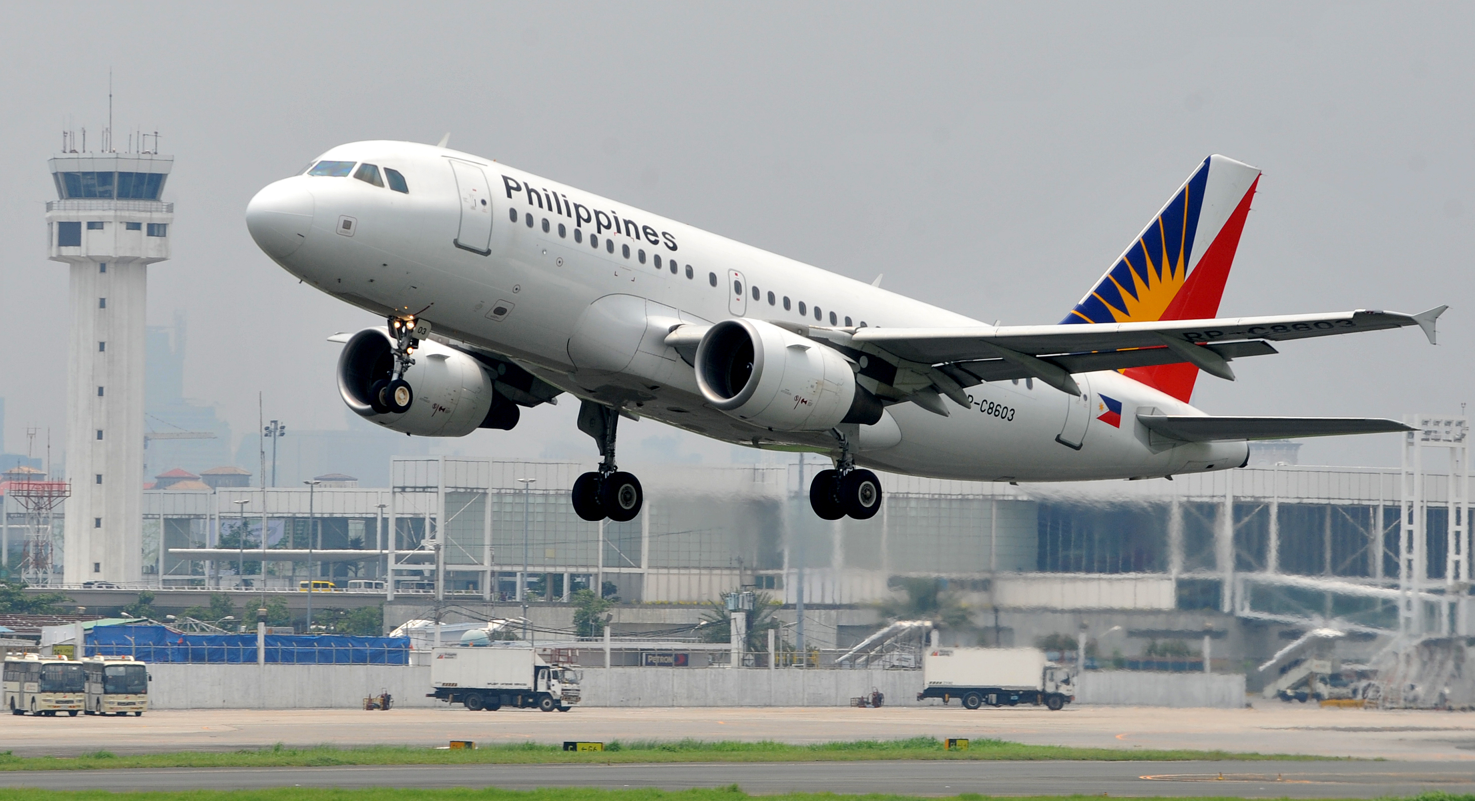 A Philippine Airlines (PAL) plane takes