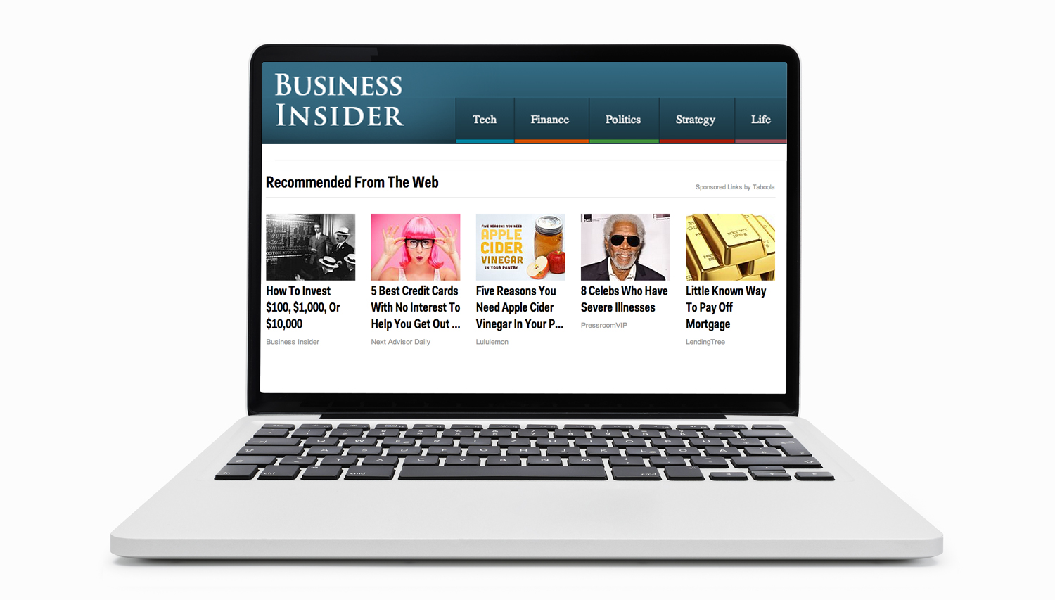 Laptop computer showing Taboola on Business Insider.