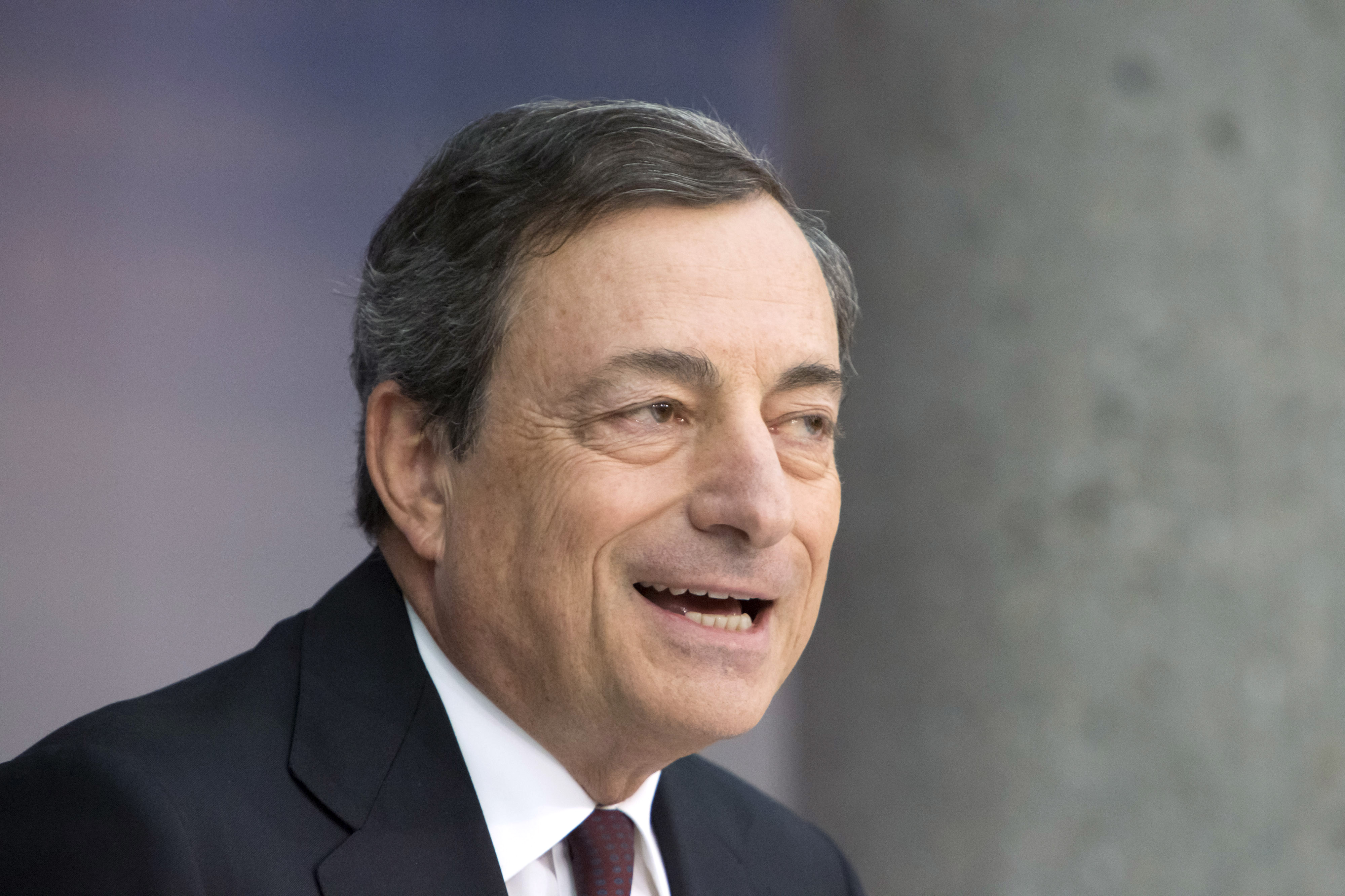 European Central Bank President Mario Draghi News Conference As Economic Outlook Menaced By Russia's President Vladimir Putin